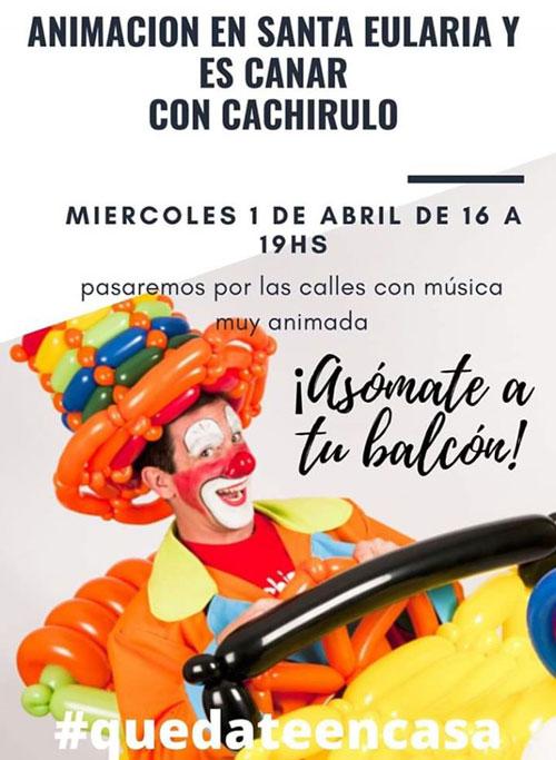Cachirulo wird durch die Straßen von Santa Eulalia gehen, um die Kleinen zu unterhalten