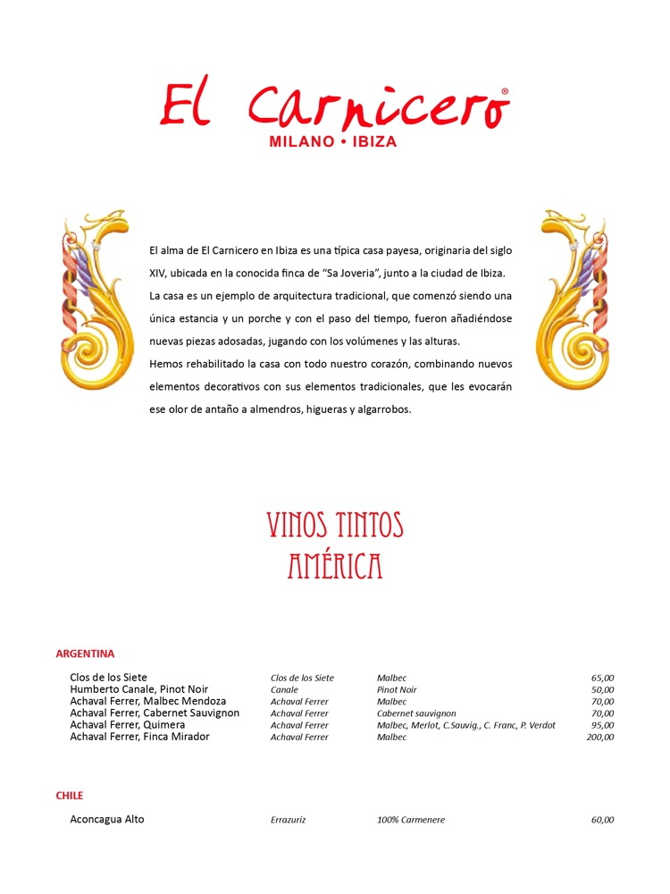 The Butcher Ibiza Menu