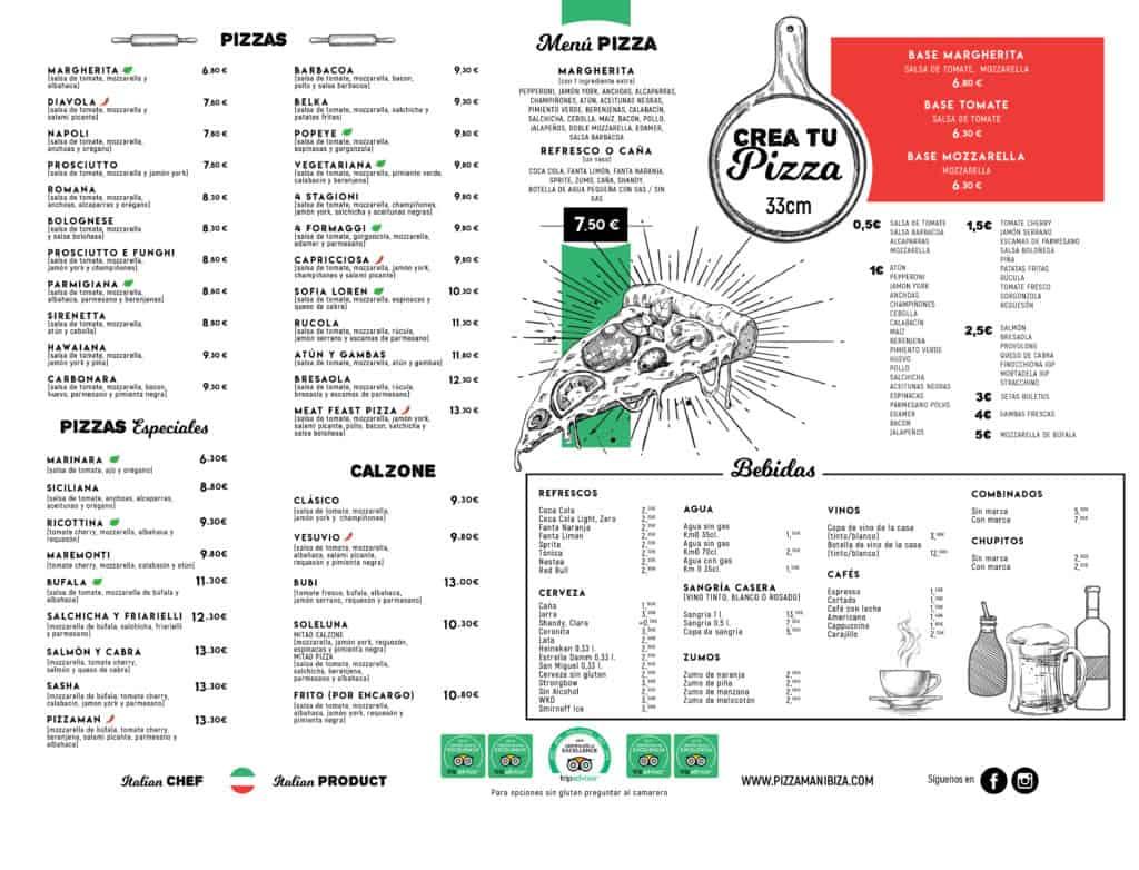 Menu di Pizzaman Ibiza