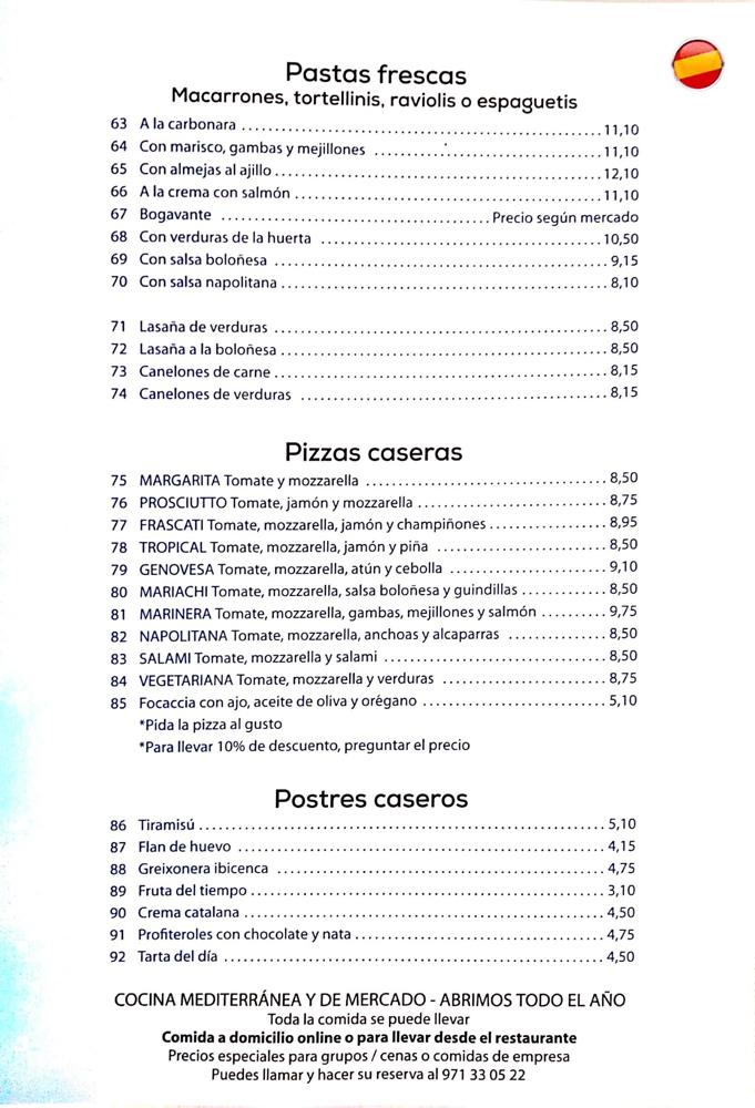 Carta Sal Marina Ibiza