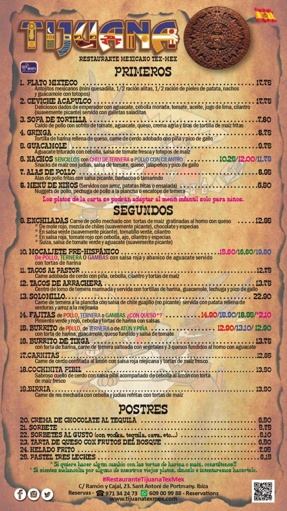 Carta Tijuana Ibiza
