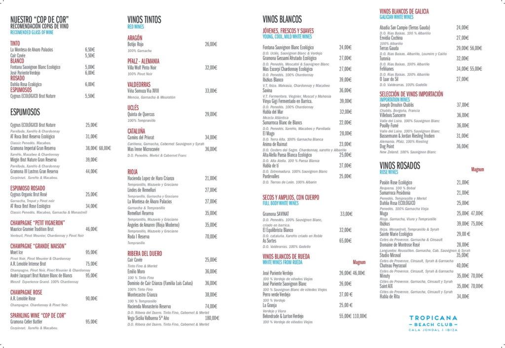Tropicana Ibiza-menu