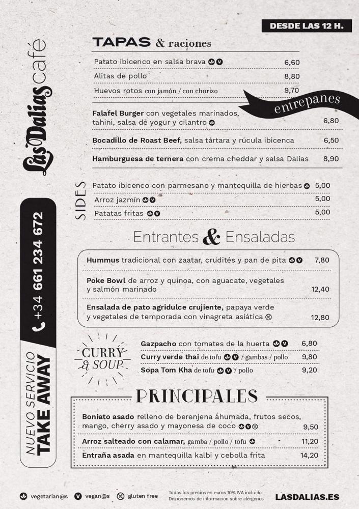 Menu Las Dalias Cafe Ibiza 2020 00