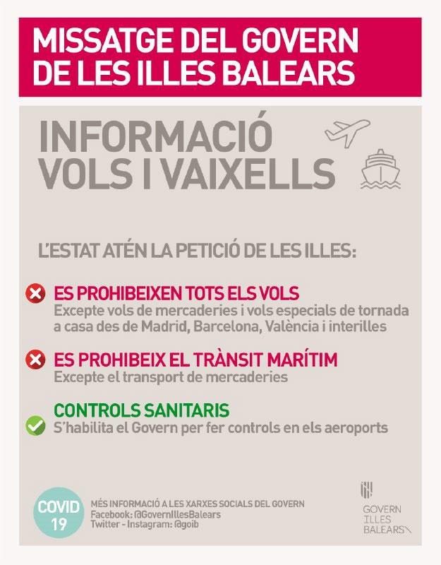 Prohibits els vols i el trànsit marítim a Balears llevat d'excepcions