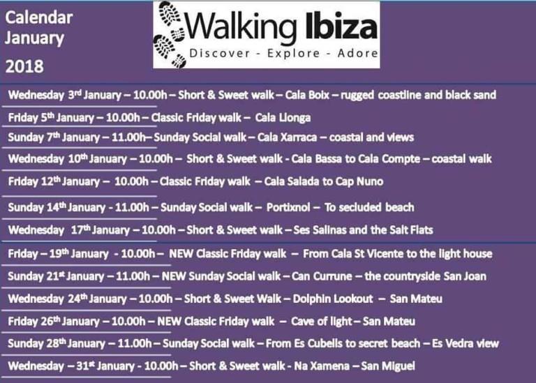 Walking Ibiza präsentiert seinen Zeitplan für den Januar von 2018