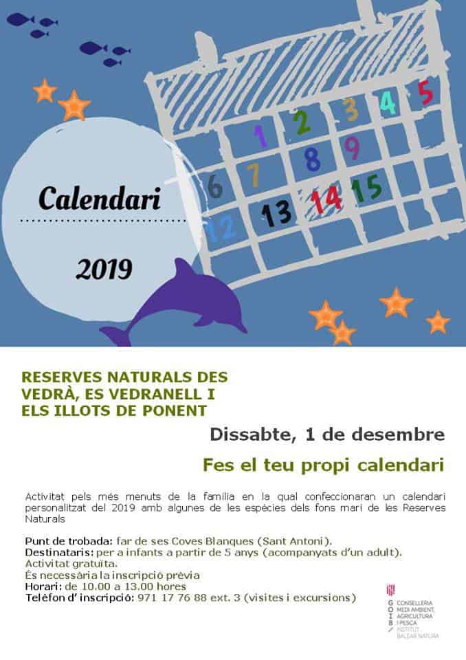 Personalized Calendar With The Natural Reserves Of Ibiza