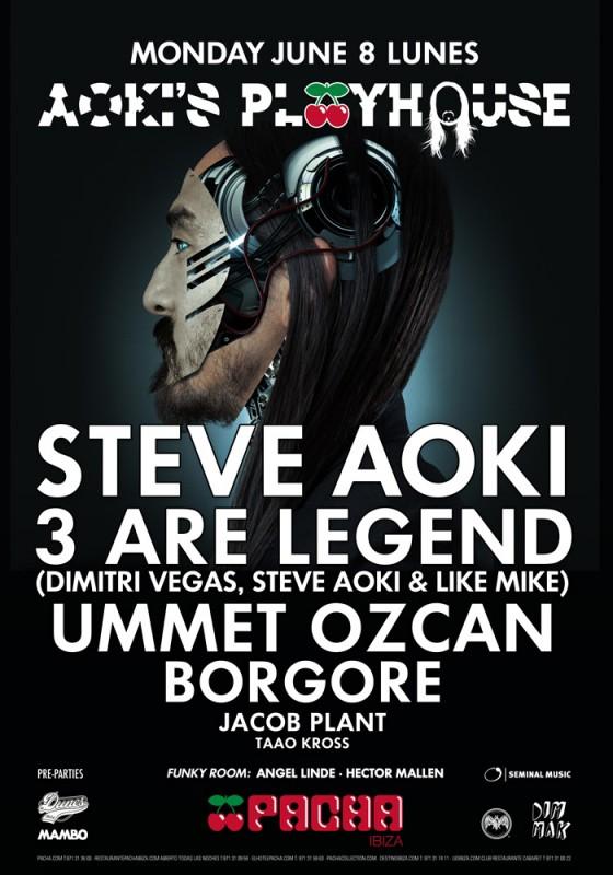 Cartelazo para la vuelta de Steve Aoki a su Aoki's Playhouse en Pacha Ibiza