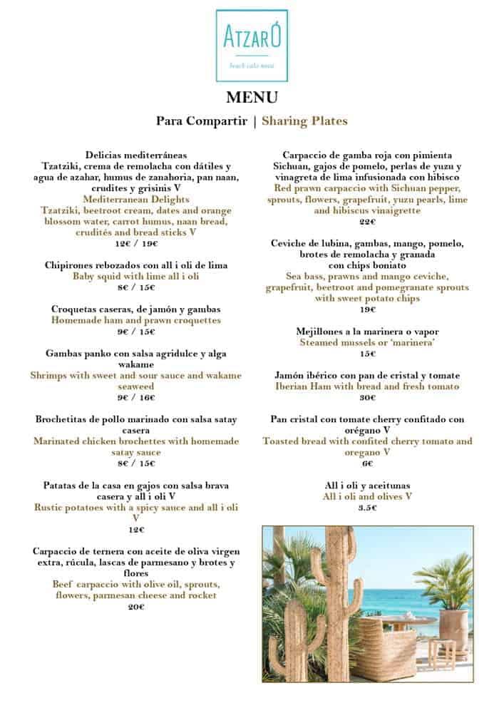 Atzaro Beach Ibiza 2021 00 Menu