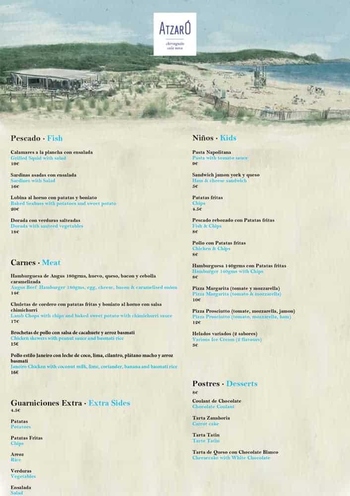 Carta Atzaro Xiringuito Eivissa 2021 00