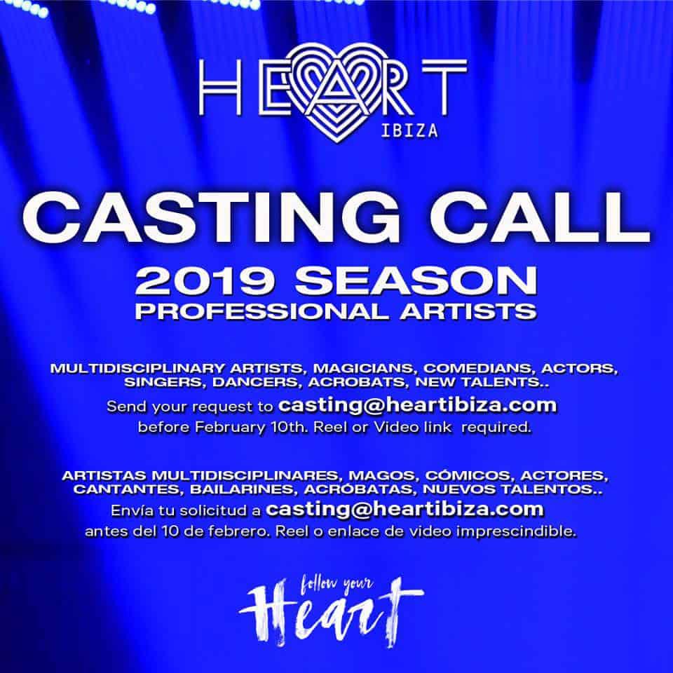 Travailler à Ibiza 2019: Heart Ibiza organise un casting d'artistes