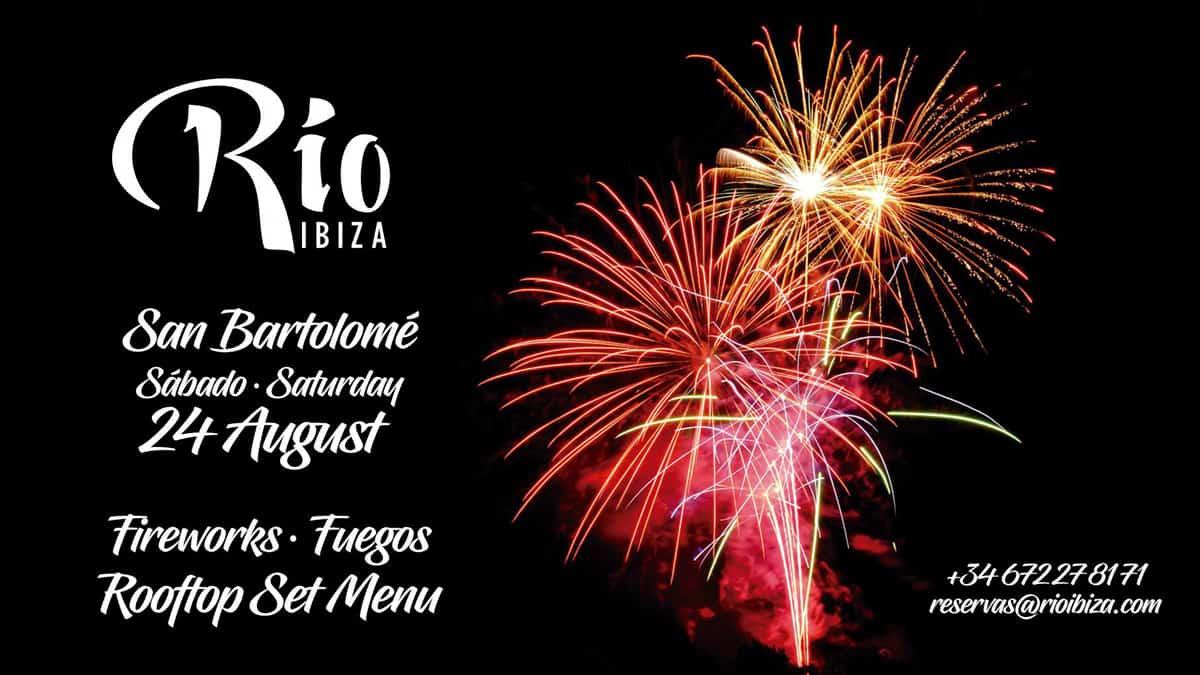 Cena con fuegos artificiales en Río Ibiza