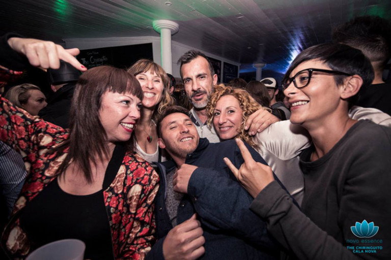 Party and music on the beach at the Closing of the Chiringuito de Atzaró Ibiza