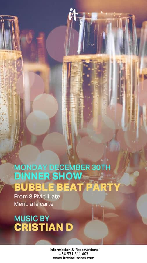 Show Dinner Bubble Beat Party al restaurant It Eivissa