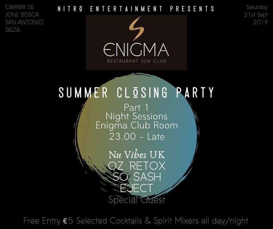 Première fête de clôture d'été à Enigma Ibiza