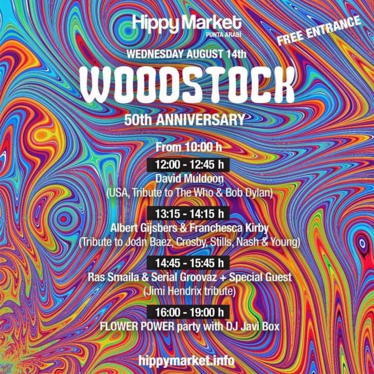 Omaggio a Woodstock al mercato hippy di Punta Arabí