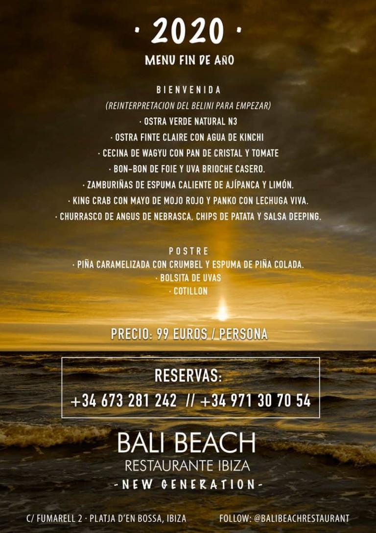 Silvestermenüs in Bali Beach Ibiza