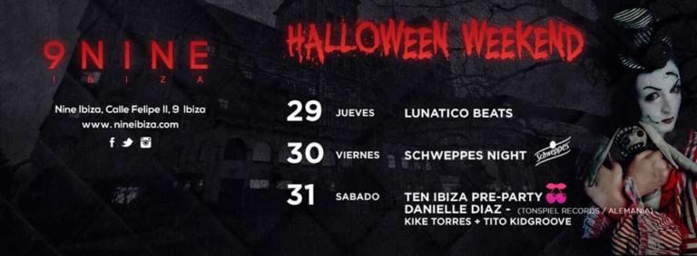 Хэллоуин выходного дня на Nine Ibiza
