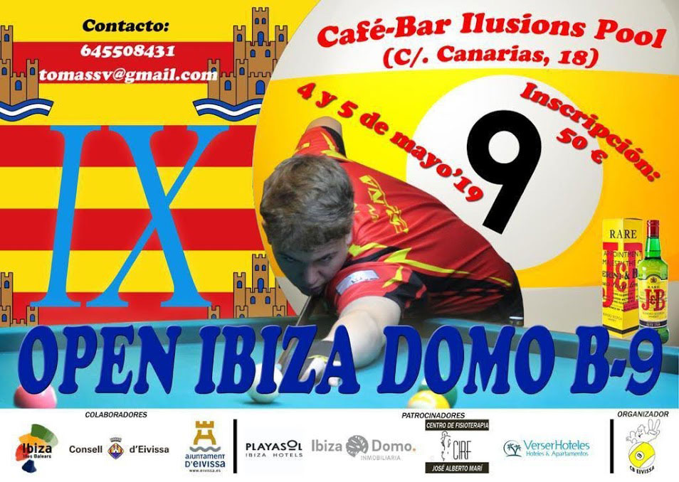 IX Open Ibiza Dome 9 Billardball in der Café-Bar Ilusions Pool