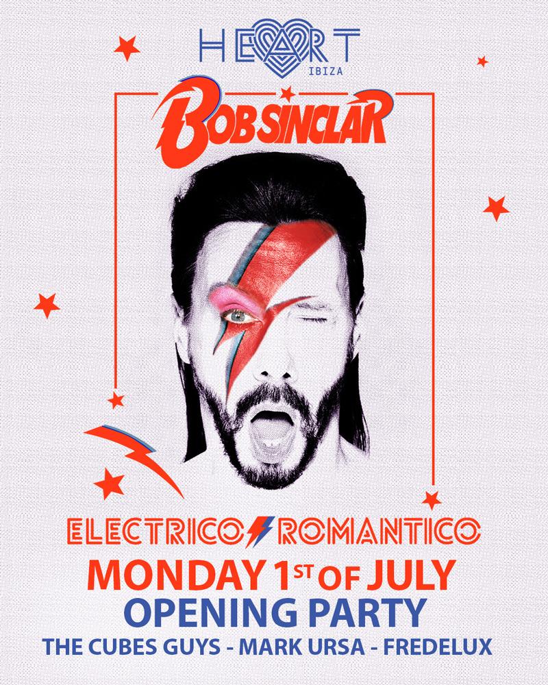 Opening of Electrico Romantico by Bob Sinclar at Heart Ibiza