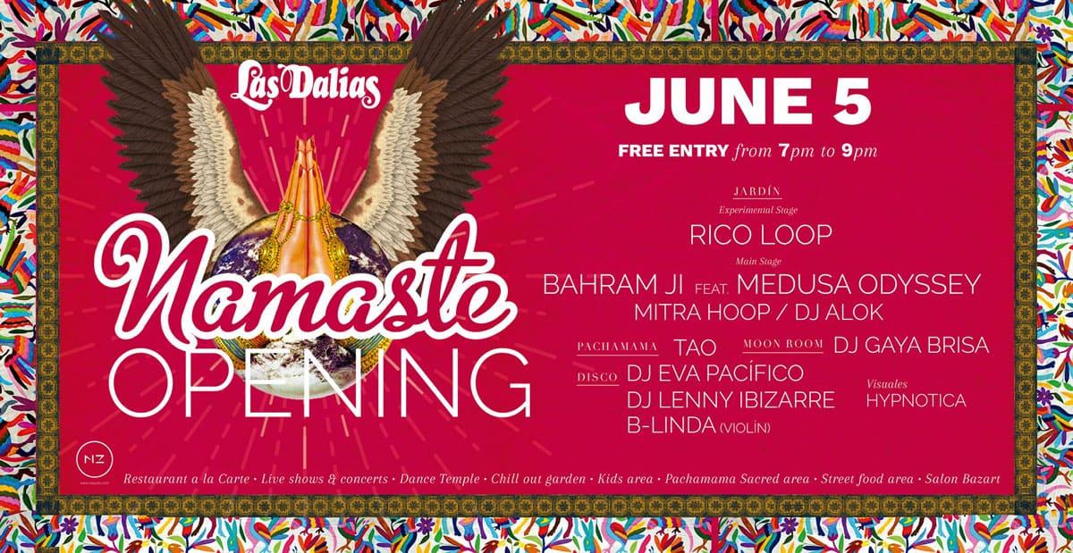 Luz y color en el Opening de Namaste en Las Dalias Ibiza