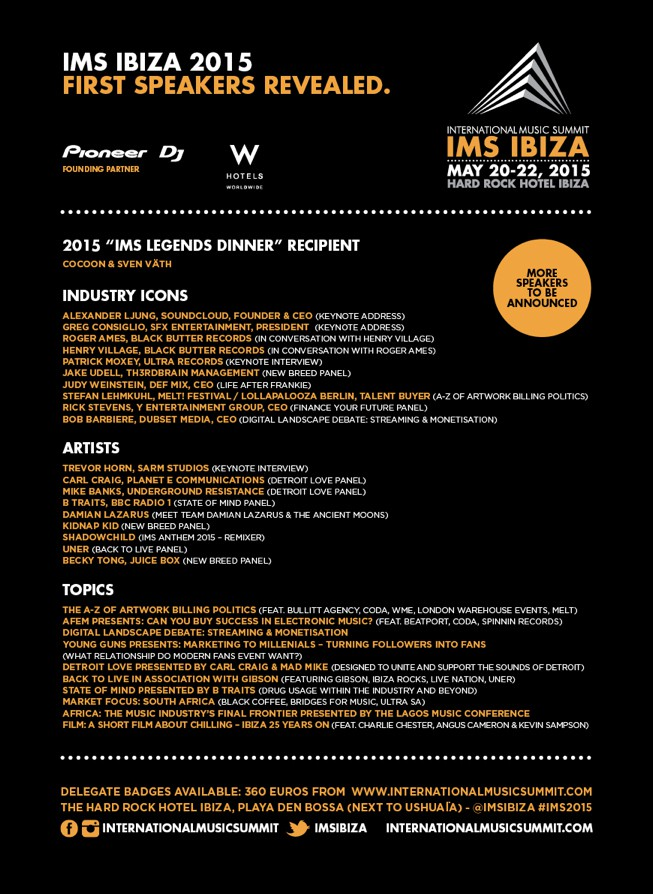 IMS International Music Summit 2015: prime conferme