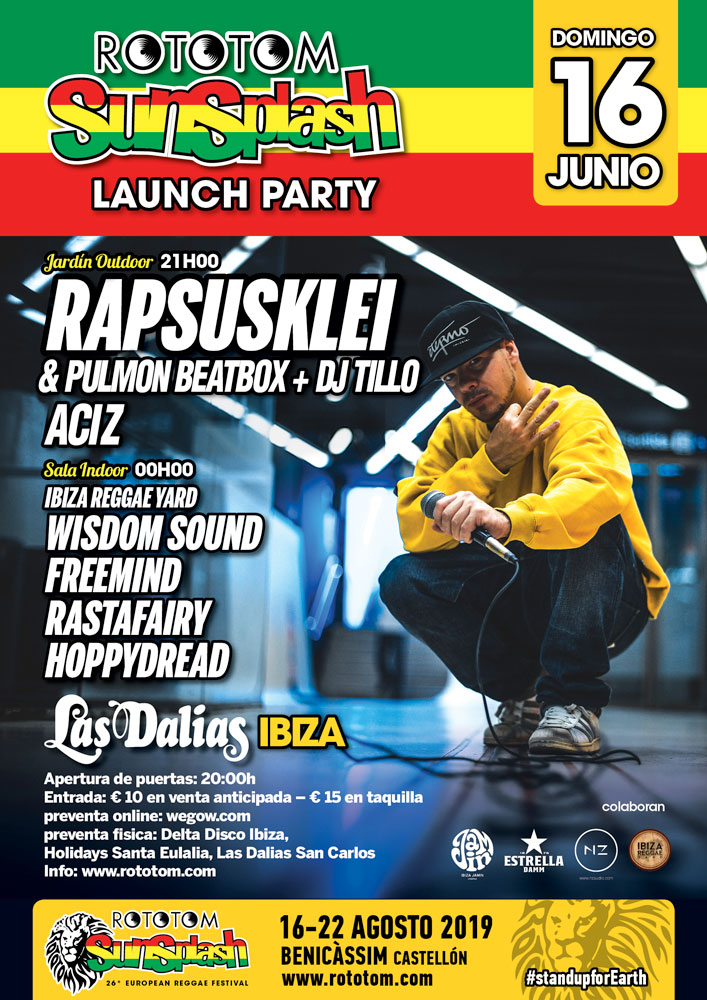 Концерт Rapsusklei на вечеринке старта Rototom Sunsplash на Лас Далиас Ибица