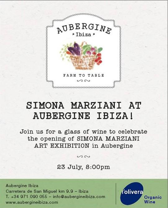 Simona Marziani eröffnet eine Ausstellung im Restaurant Aubergine Ibiza