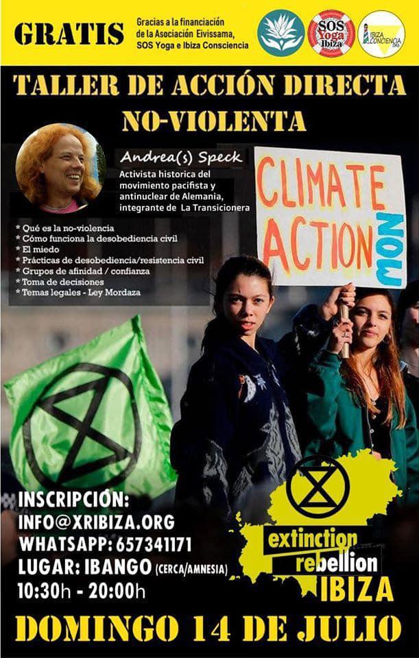 Atelier d'action directe non violente avec extinction, rébellion, Ibiza