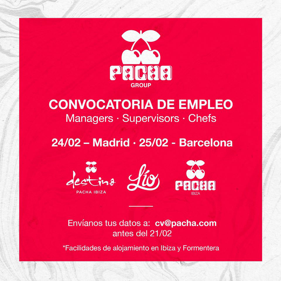 Work in Ibiza 2020: Call for Employment in Pacha Group
