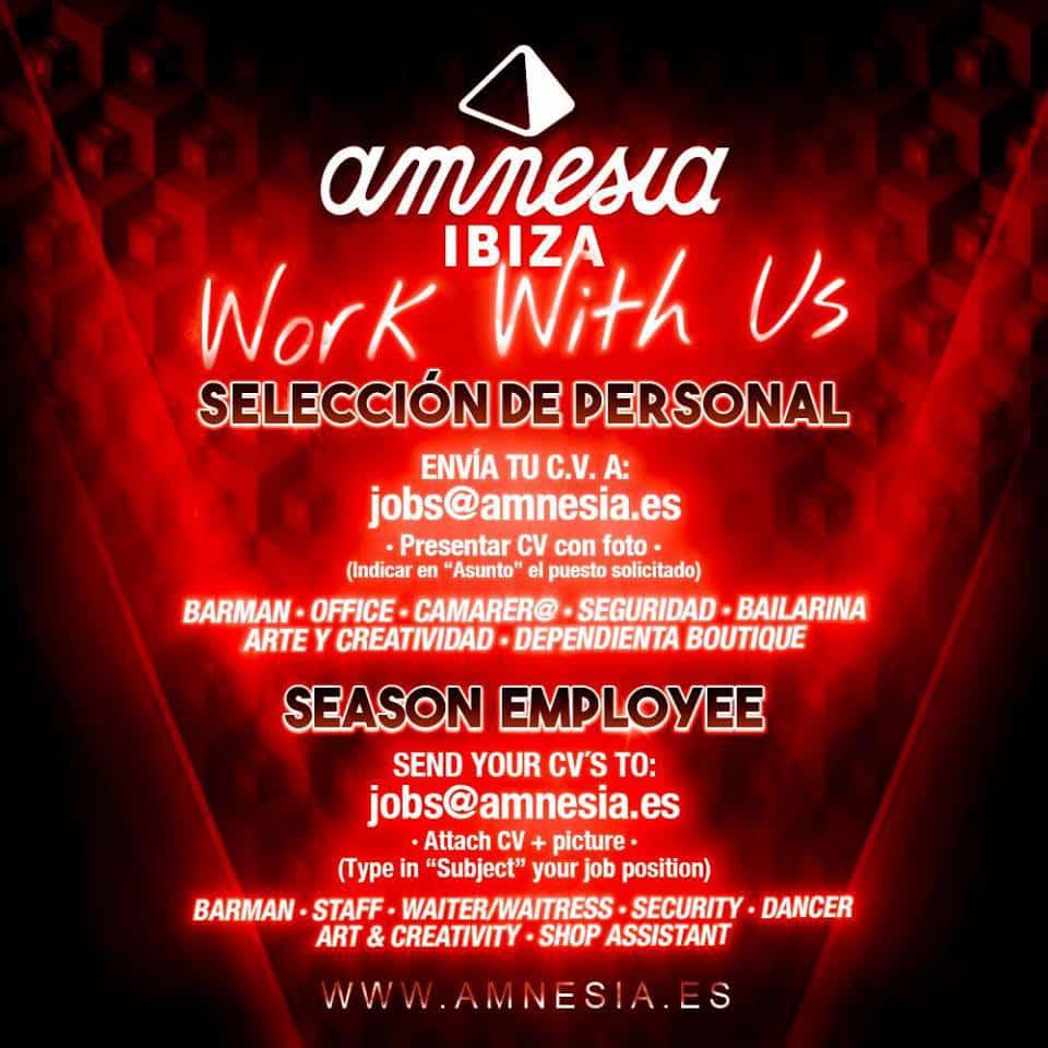 Работа на Ибице 2018: Amnesia Ibiza подбирает персонал