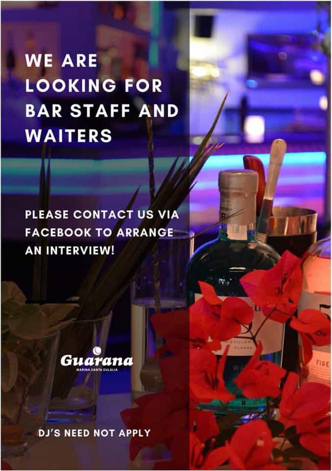 Lavorare a Ibiza 2018: Guaraná Ibiza in cerca di camerieri