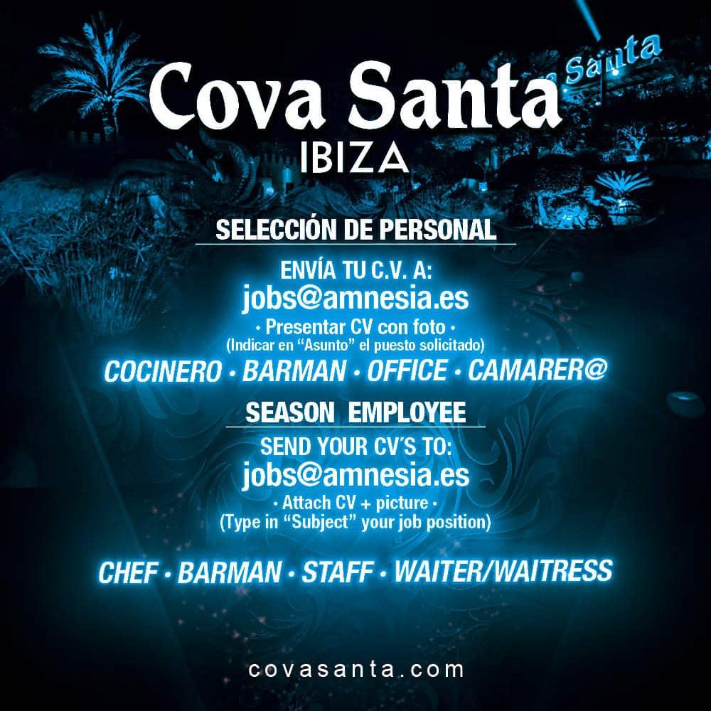 Работа на Ибице 2018: Cova Santa Ibiza подбирает персонал