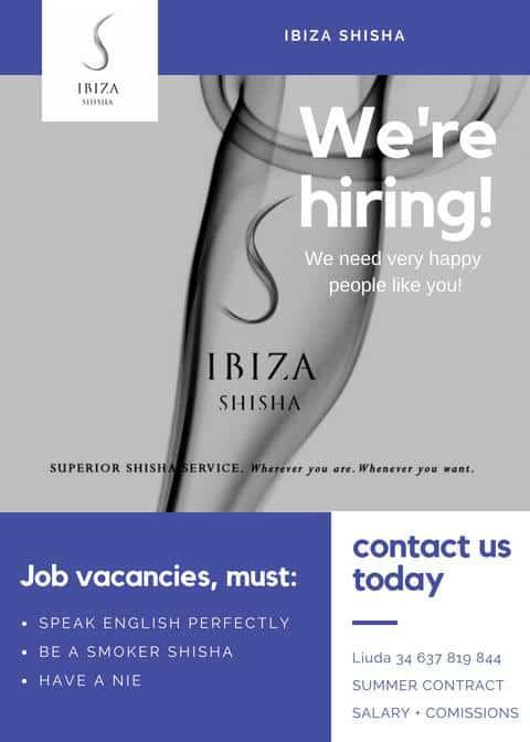 Lavorare a Ibiza 2018: Ibiza Shisha in cerca di personale