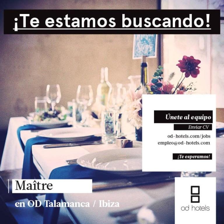 Travailler à Ibiza 2018: OD Talamanca cherche maître