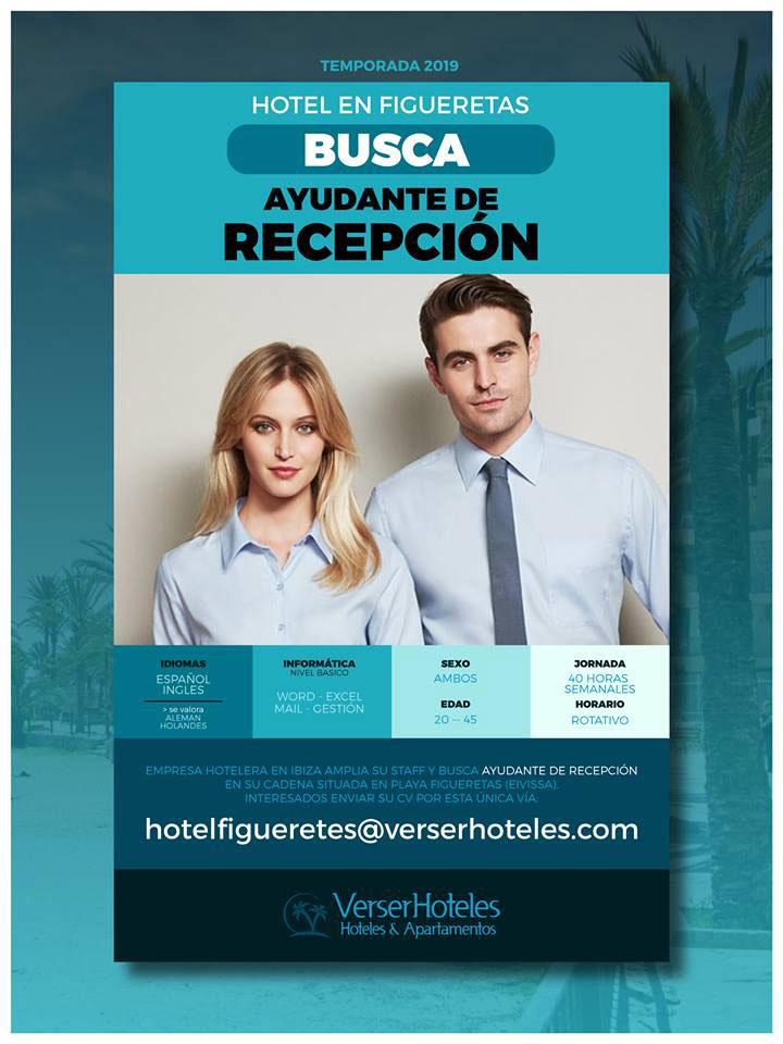 Travailler à Ibiza 2019: Verser Hoteles cherche une réceptionniste