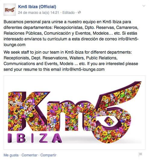 Trabajar en Ibiza 2015: Km5 busca personal